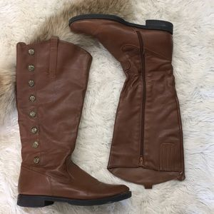 NICOLE Shannon knee boot, brown leather buttons